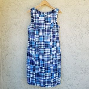 Orvis Blue Madras Plaid Sleeveless Shift Dress